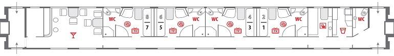Схема вагона класса «Люкс»