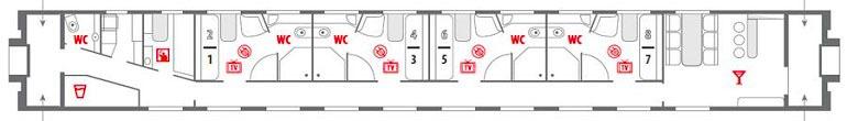 Схема вагона «Люкс»