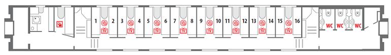 Схема вагона СВ 1 этаж