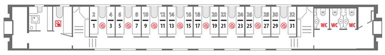 Схема вагона стандартного купе 1 этаж