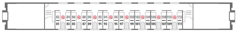 Схема вагона стандартного купе 2 этаж