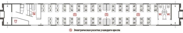 Схема межобластного вагона (с сидячими местами)